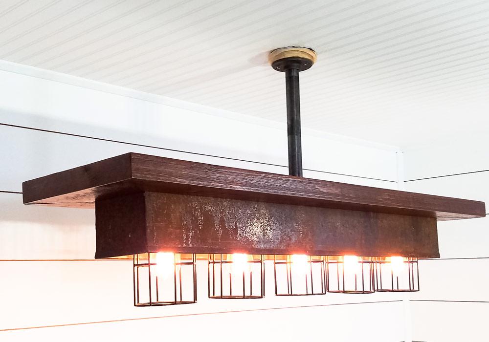 Metal Quenching Tray Chandelier with Wire Lamp Cages - Tattered Oak ...